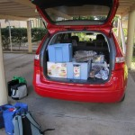 the car loaded up with equipment